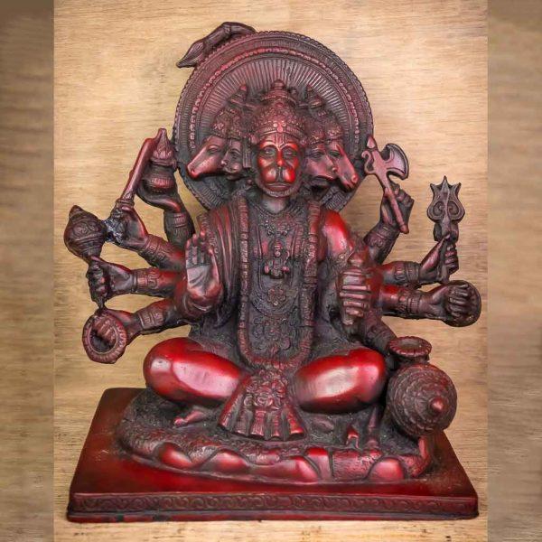 5 Faced Red Hanuman Statue - Hanuman Statue - hanuman - hanuman statue - baanar -sankat mochan hanuman - spritual items - ram and hanuman - hanuman monkey - hanuman facts - lord hanuman vagwan hanuman - ram bhakta hanuman - brahmachari hanuman