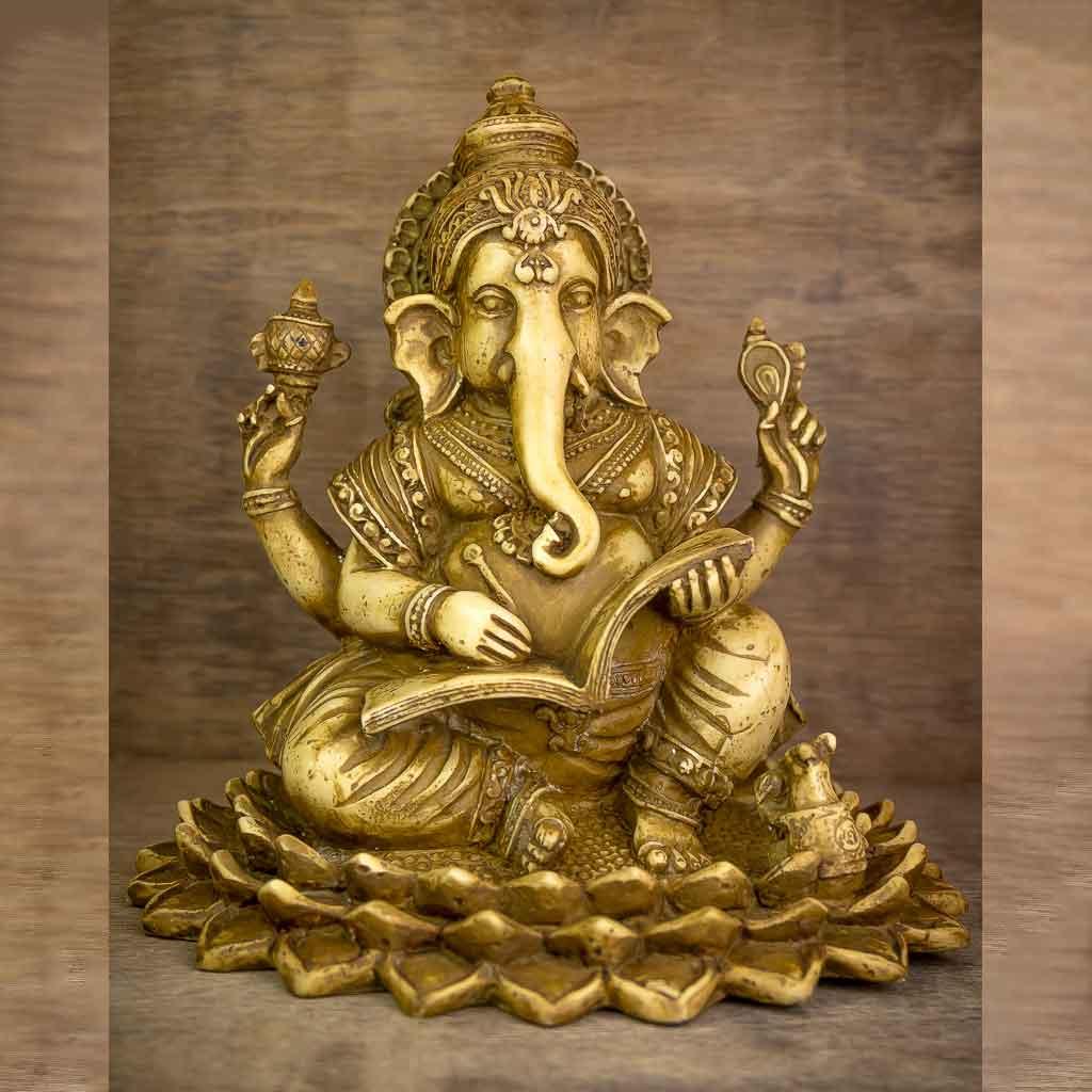 Shubha Labh Ganesh Statue - thamelshop - ganesh statue- antique ganesha statue - lord ganesh - best statue - spritual items