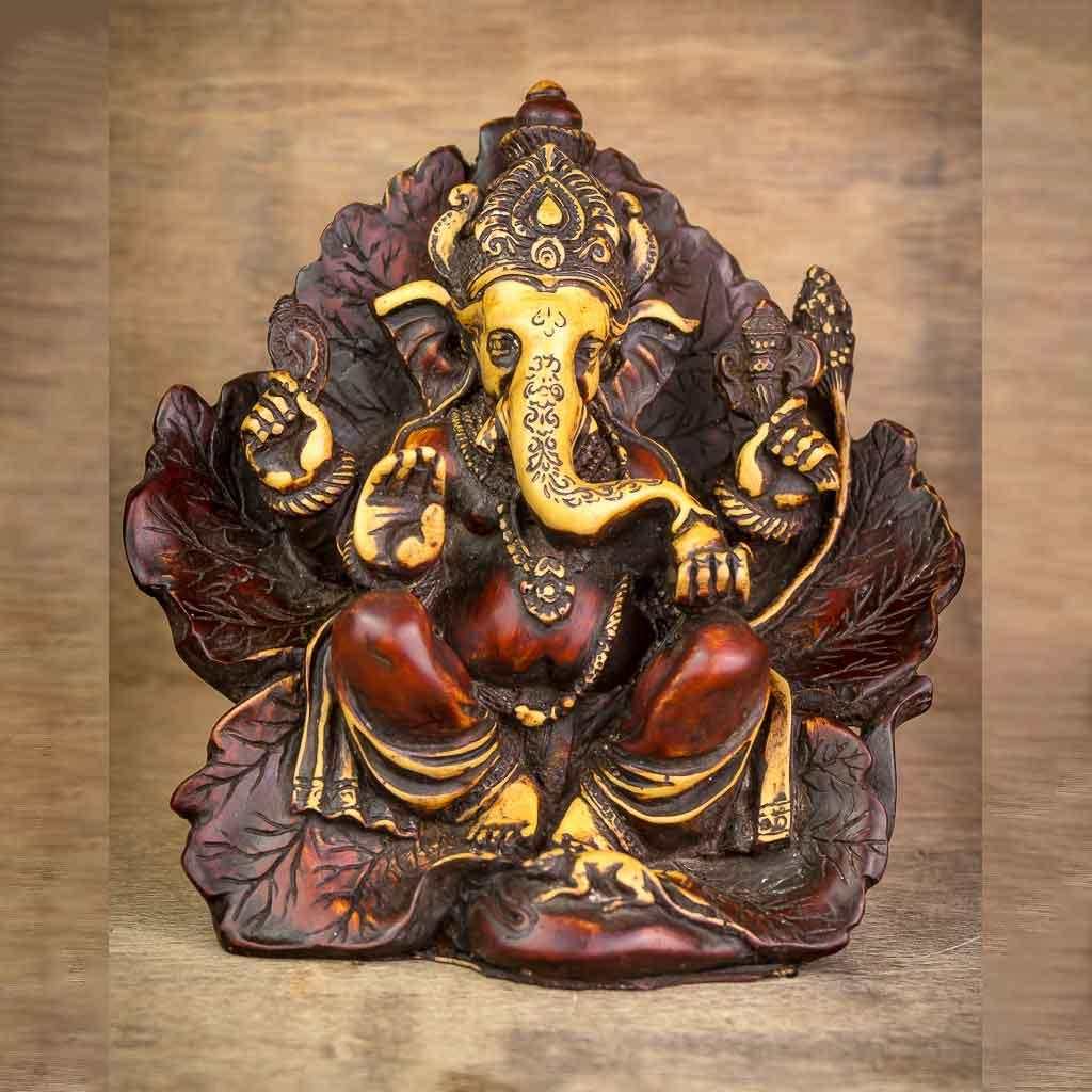 Antique Leaf Wing Ganesh Statue - thamelshop - ganesh statue- antique ganesha statue - lord ganesh - best statue - spritual items