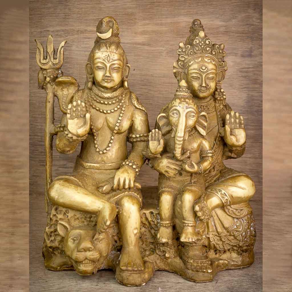 Lord Shiva Family - shiva statue- lord shiva- mandala shiva statue- nataraja- shiva on shiva statue-thamelshop - spritual items - hindu god - god of god - mahadev - parbati - ganesh - lord ganesh family - antique shiva statue
