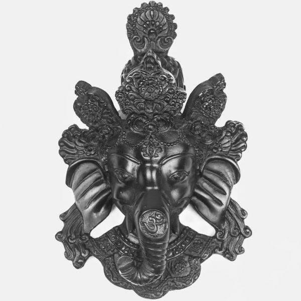 Small Ganesh Wall Hanging Black -thamelshop-ganesh statue-antique ganesha statue -lord ganesh-wall hanging ganesh statue-decor items- wall decor items-ganesha wall hanging-ganesh statue red- red wall hanging ganesha-natural ganesha- natural carving ganesha statue-natural carving ganesha wall hanging-Natural Carving