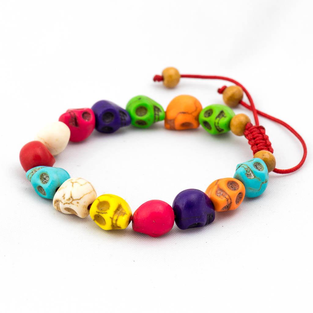 Multi Colour Skull Wrist Mala -thamelshop-mens beaded jewelry-tibetan mala shop-tibetan mala bracelets-how to make a wrist mala-wrist beads for guys-wrist mala-bodhi seed wrist mala-impermanence mala-dragons blood mala-japanese wrist mala-mens sandalwood bracelet-adjustable mala beads - hand jewellry- wrist jewellry