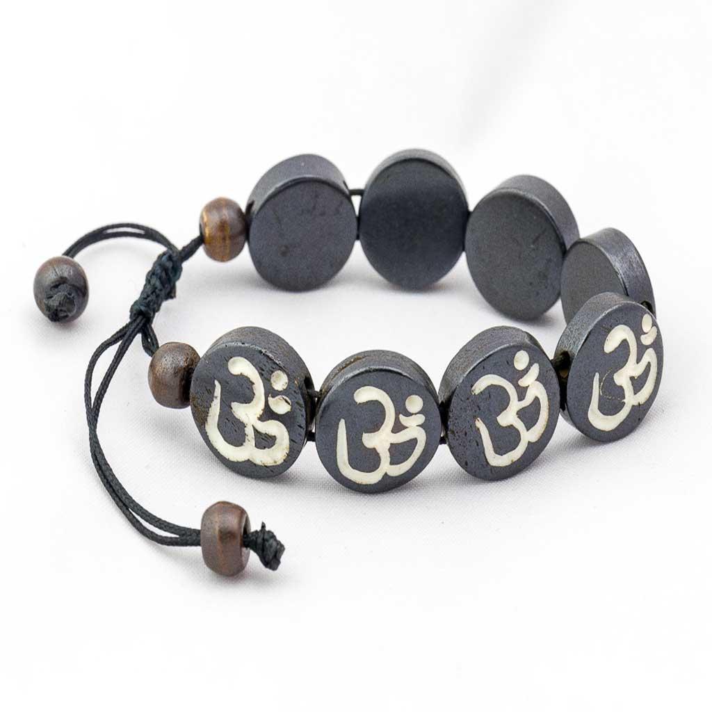 Om Wrist Mala-thamelshop-mens beaded jewelry-tibetan mala shop-tibetan mala bracelets-how to make a wrist mala-wrist beads for guys-wrist mala-bodhi seed wrist mala-impermanence mala-dragons blood mala-japanese wrist mala-mens sandalwood bracelet-adjustable mala beads - hand jewellry- wrist jewellry-om painted mala-om painted wrist mala-Om-spritual items