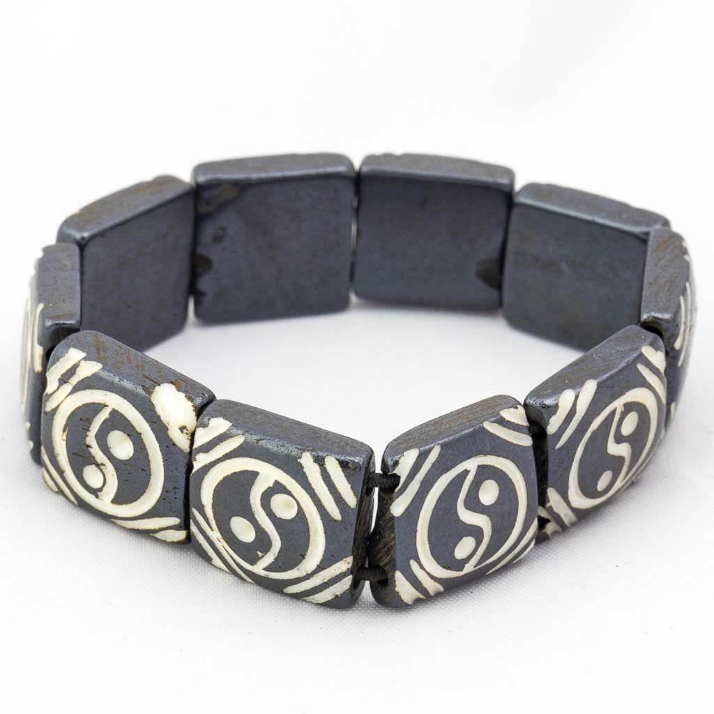 Yin Yang Elastic Bracelet-Yin Yang Bracelet-thamelshop-mens beaded jewelry-tibetan mala shop-tibetan mala bracelets-how to make a wrist mala-wrist beads for guys-wrist mala-bodhi seed wrist mala-impermanence mala-dragons blood mala-japanese wrist mala-mens sandalwood bracelet-adjustable mala beads - hand jewellry- wrist jewellry-spiritual items-yin yang wrist mala- yin yang wrist jewelery-yin yang hand jewelery