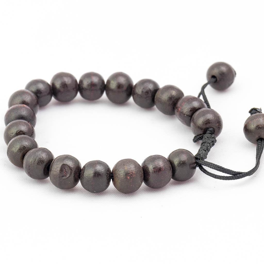 Dark Brown Wooden Wrist Mala-thamelshop-mens beaded jewelry-tibetan mala shop-tibetan mala bracelets-how to make a wrist mala-wrist beads for guys-wrist mala-bodhi seed wrist mala-impermanence mala-dragons blood mala-japanese wrist mala-mens sandalwood bracelet-adjustable mala beads - hand jewellry- wrist jewellry- wooden jewelery-wooden bracelet-wooden wrist jewelry