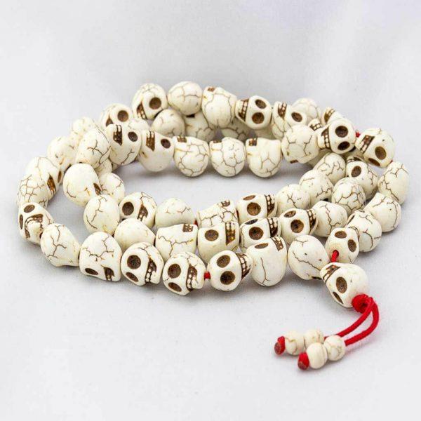 Full Skull Long Wrist Mala-thamelshop-mens beaded jewelry-tibetan mala shop-tibetan mala bracelets-how to make a wrist mala-wrist beads for guys-wrist mala-bodhi seed wrist mala-impermanence mala-dragons blood mala-japanese wrist mala-mens sandalwood bracelet-adjustable mala beads