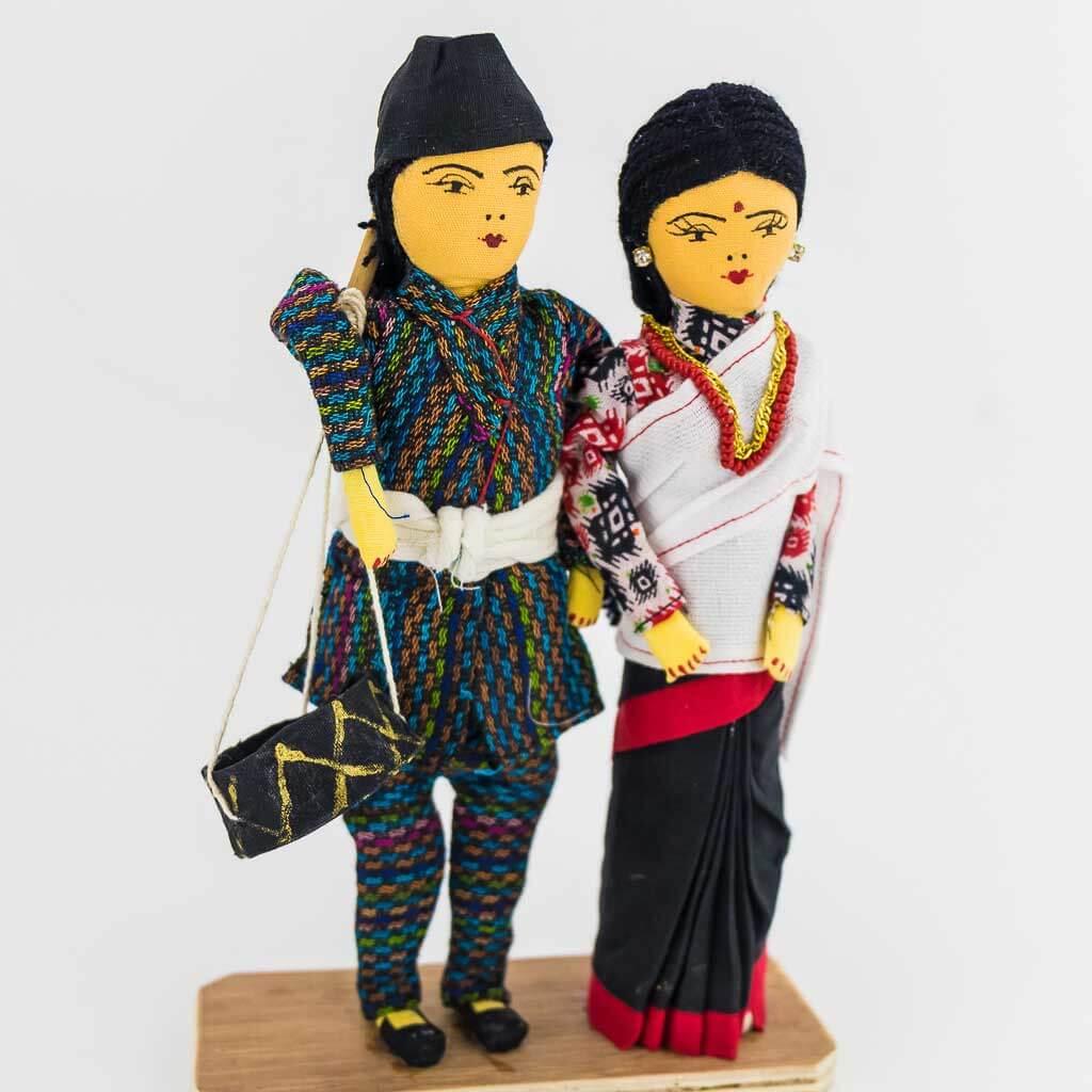 newar couple doll - nepali cultural dress - newar couple - doll - thamelshop - decor item -nepali cultural dress