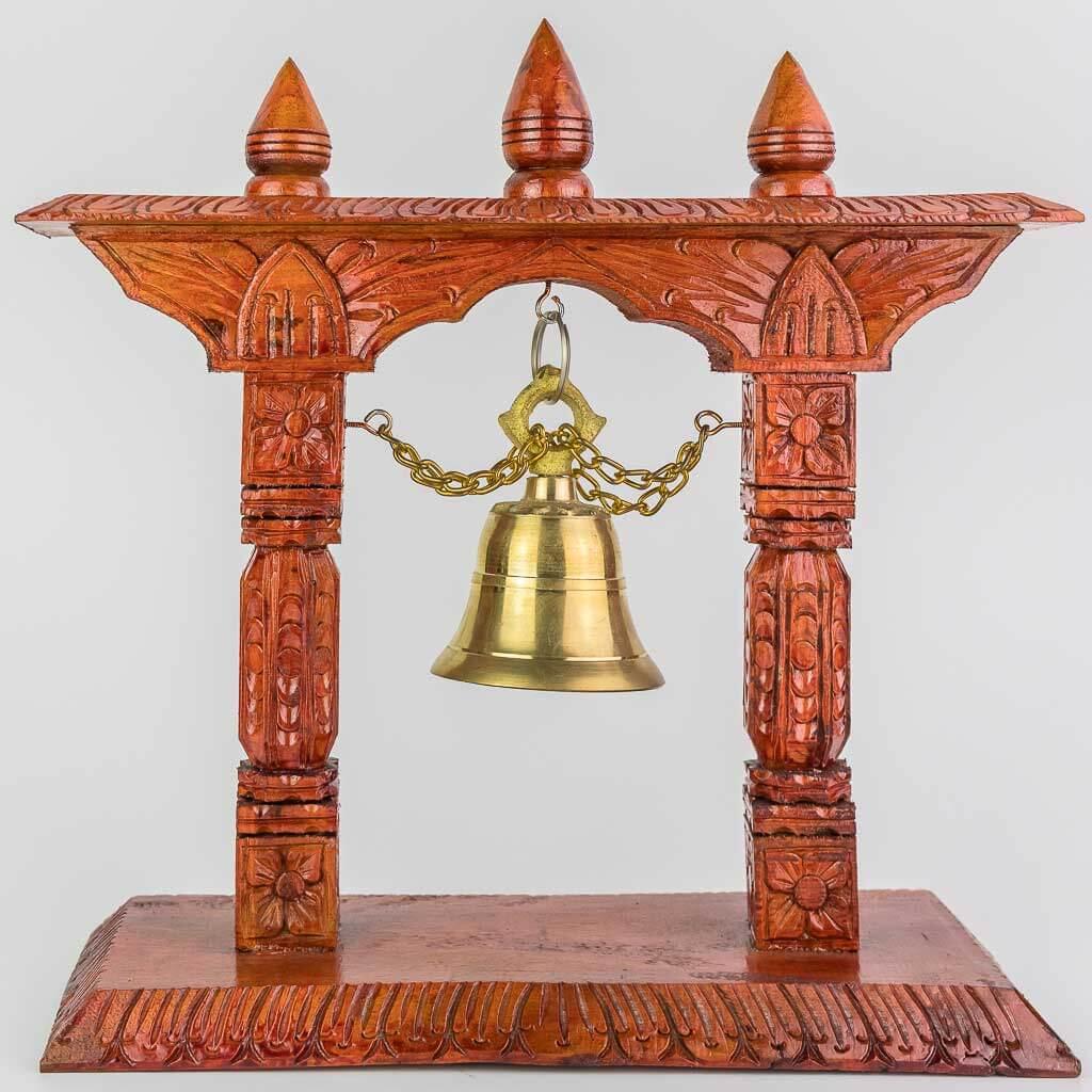 32 cm Wooden Bell Tower -thamelshop- decor items- wooden decor items-wooden crafts- handicrafts- handicrafts australia-wooden bell- decorative bell