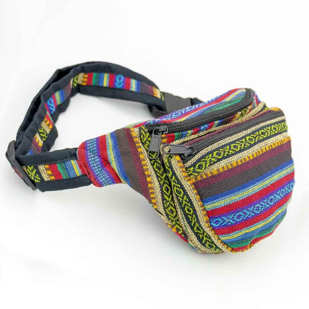Ethnic Tribal Printed Bum Bags - Thamelshop - bum bags - hemp bum bags - cotten bum bag - eco-friendly bum bag - organic bum bag -unique bum bag -nepali bum bag -handmade bum bag -colourfull bum bag