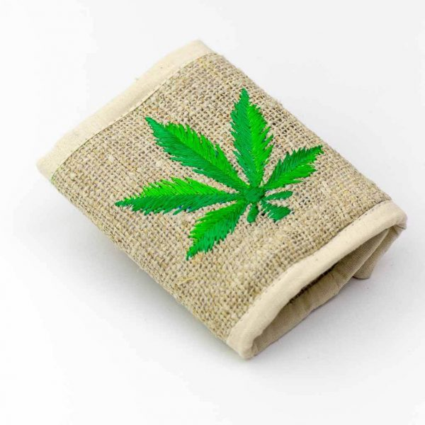 Marijuana Embroidered Hemp Wallet -Thamelshop - hemp wallet -marijuana embroidery wallet - cotten wallet- eco-friendly wallet -organic wallet-unique wallet-nepali wallet-handmade wallet - wallet- hemp wallet australia - hemp wallet with zipper- marijuana