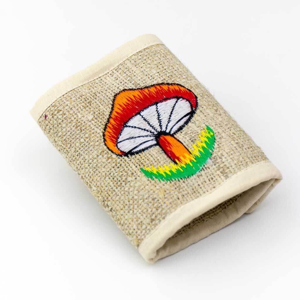 Mushroom Embroidered Hemp WalletMushroom Embroidered Hemp Wallet