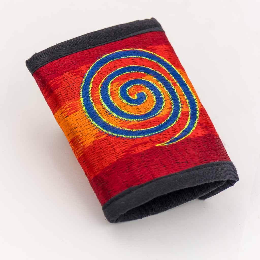 Spiral Embroidered Cotton Wallet - Thamelshop - hemp wallet - spiral wallet -spiral embroidery wallet - cotten wallet- eco-friendly wallet -organic wallet-unique wallet-nepali wallet-handmade wallet - wallet- hemp wallet australia - hemp wallet with zipper