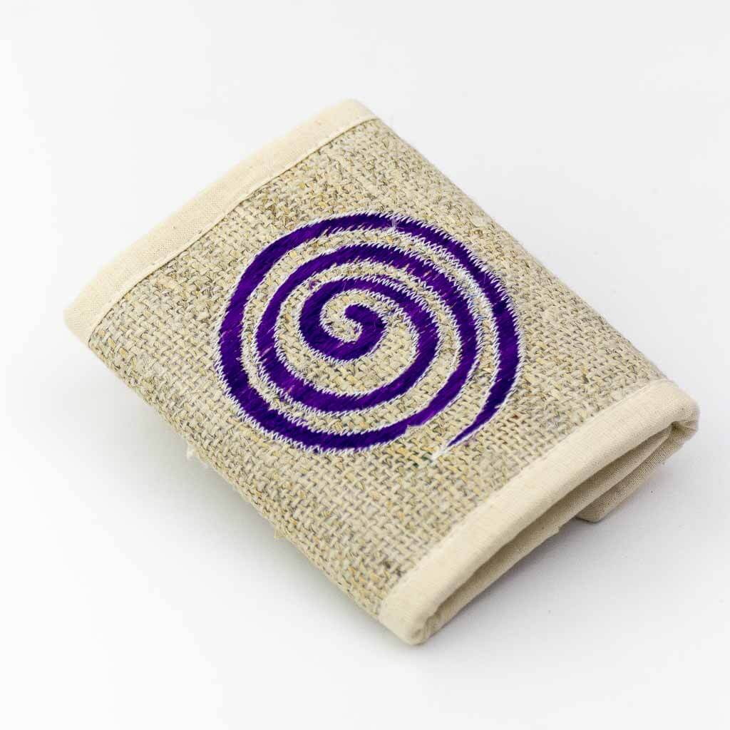 Spiral Embroidered Hemp Wallet - Thamelshop - hemp wallet - spiral wallet -spiral embroidery wallet - cotten wallet- eco-friendly wallet -organic wallet-unique wallet-nepali wallet-handmade wallet - wallet- hemp wallet australia - hemp wallet with zipper