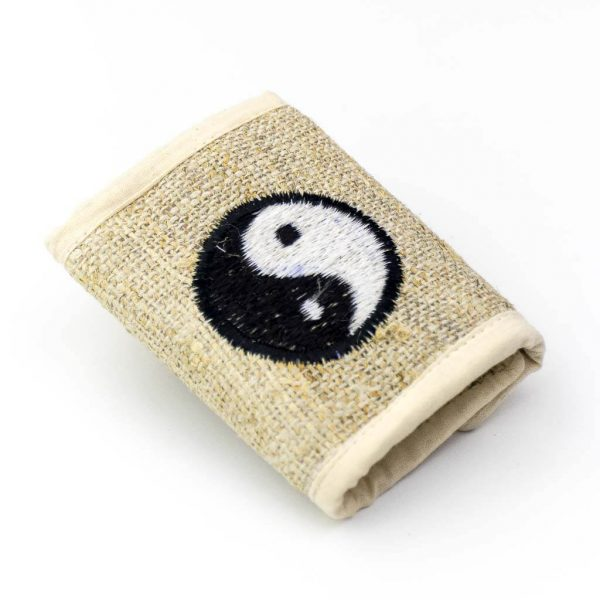Yin Yang Embroidered Hemp - Thamelshop - hemp wallet - yin yang wallet - cotten wallet- eco-friendly wallet -organic wallet-unique wallet-nepali wallet-handmade wallet Wallet- hemp wallet australia - hemp wallet with zipper