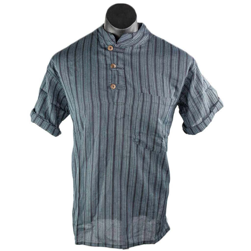 Black-striped-cotton-kurta-short-sleeve