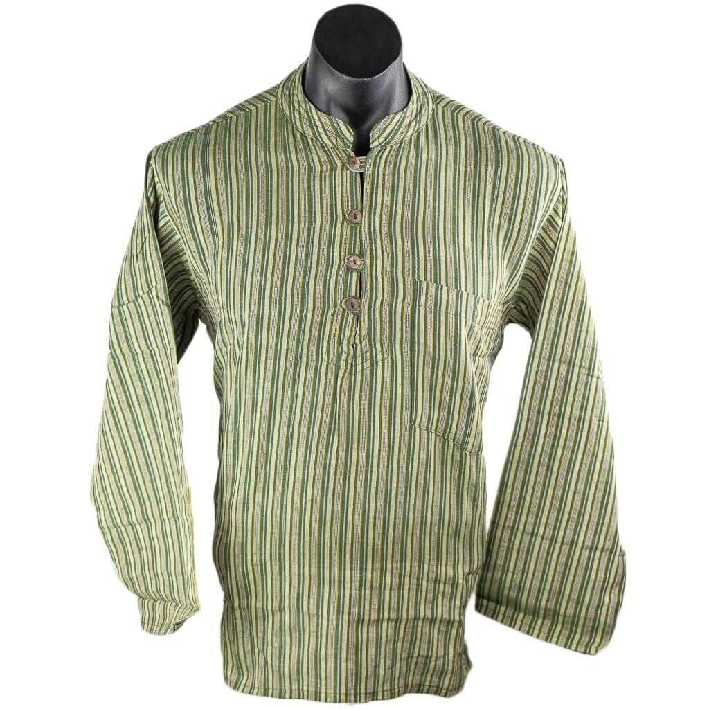 Olive-Green-striped-cotton-kurta