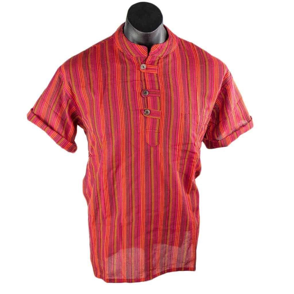 Red-Short-Sleeve-Stripe-Cotton-Kurta
