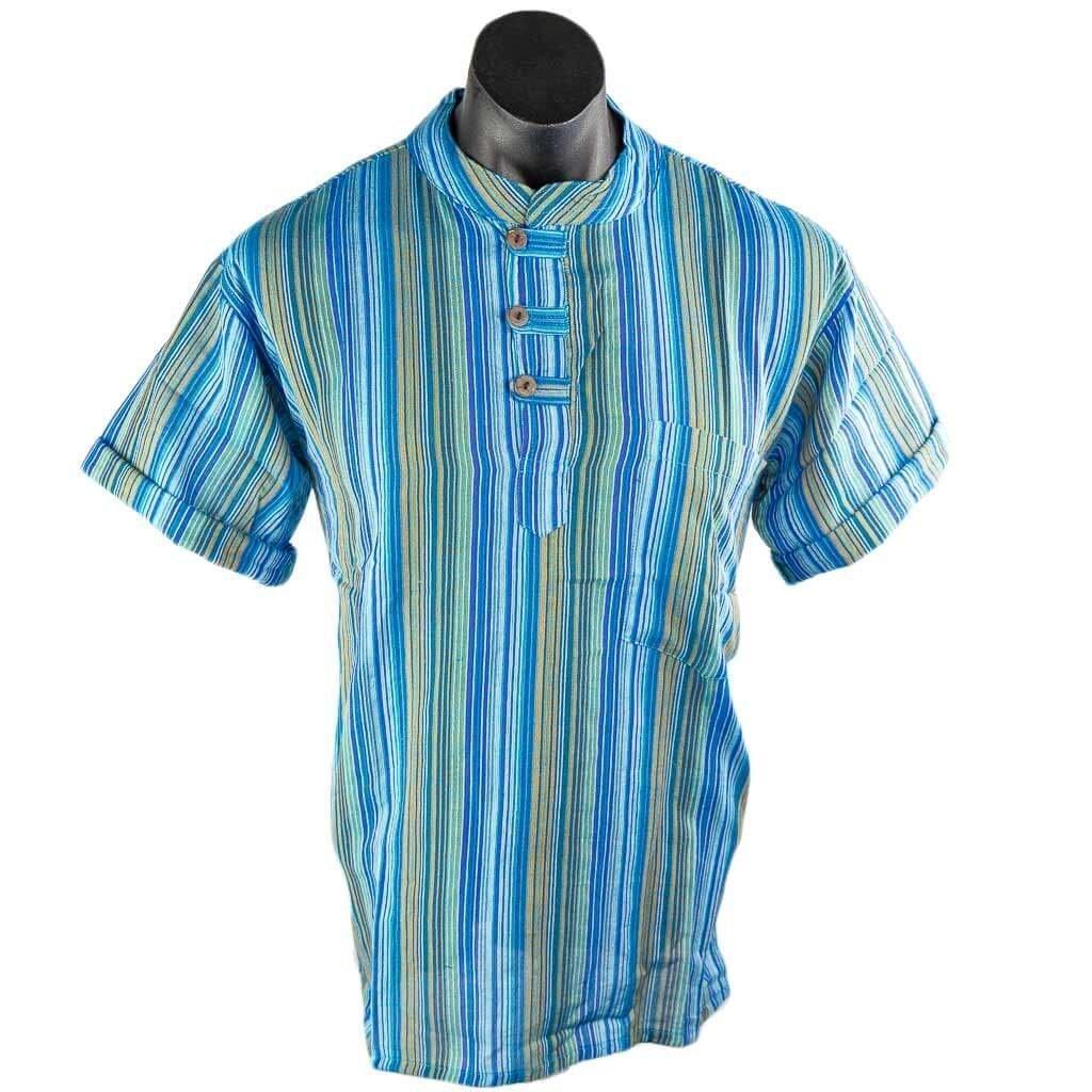 Turquoise-short-sleeve-cotton-stripe-kurta